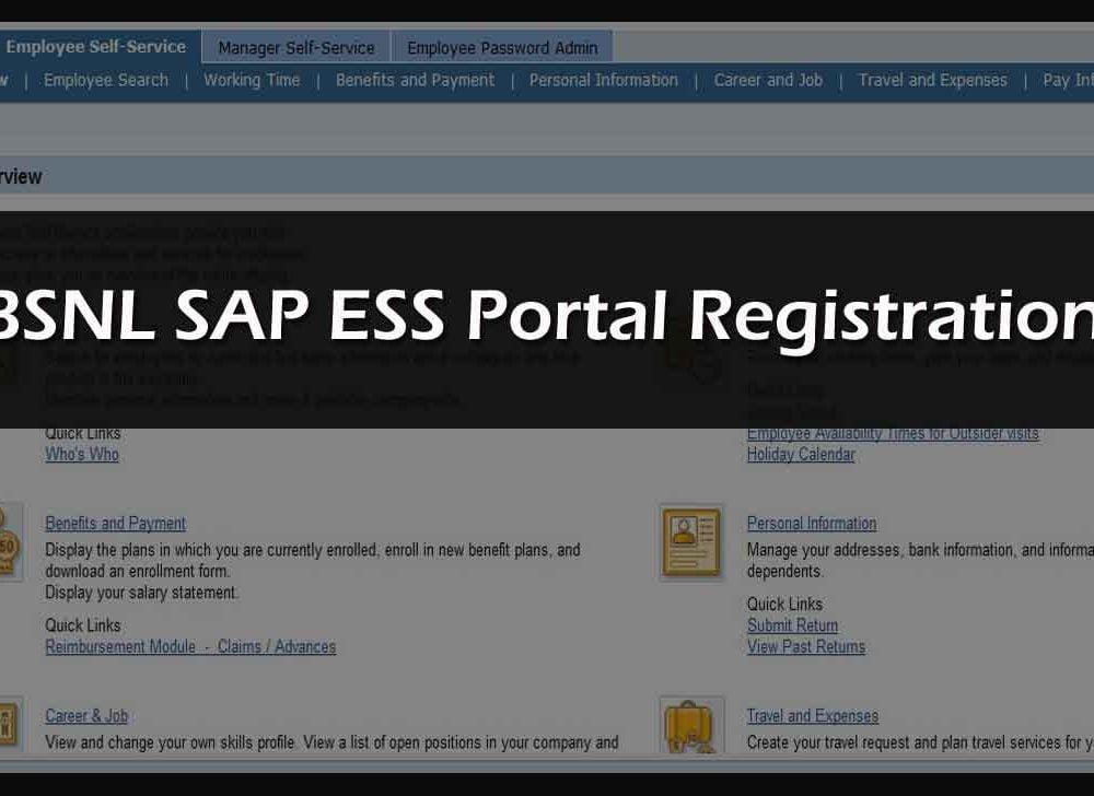 BSNL ERP Portal Registration to Access BSNL SAP ESS Services