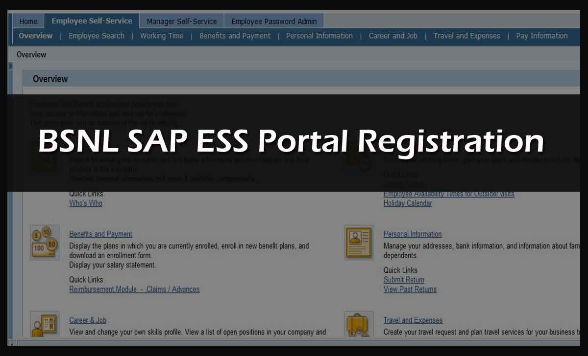 BSNL ERP SAP ESS Portal Registration
