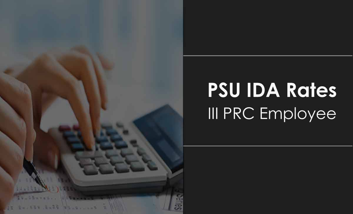 Ida Rates From 01 07 2020 For 3rd Prc Employees