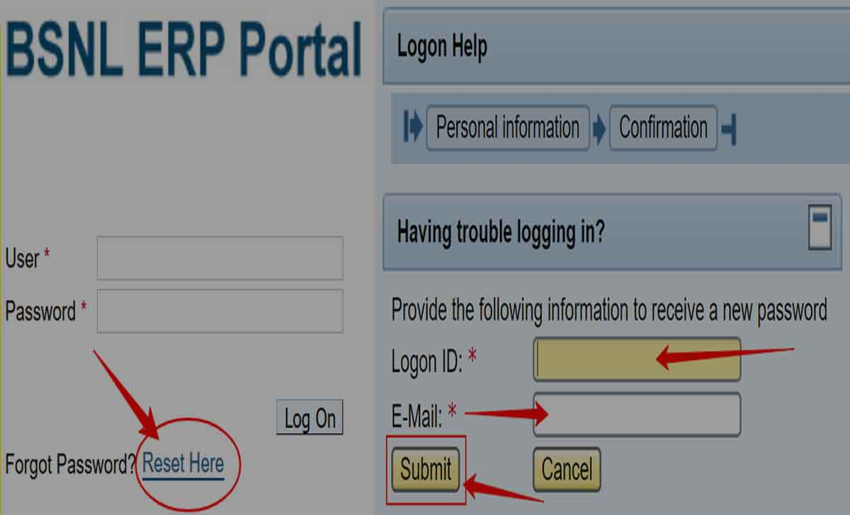 Reset BSNL ERP Login Password Online