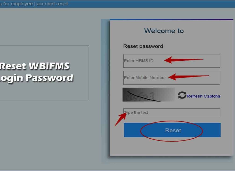 Reset WBiFMS Login Password for Employee HRMS eServices
