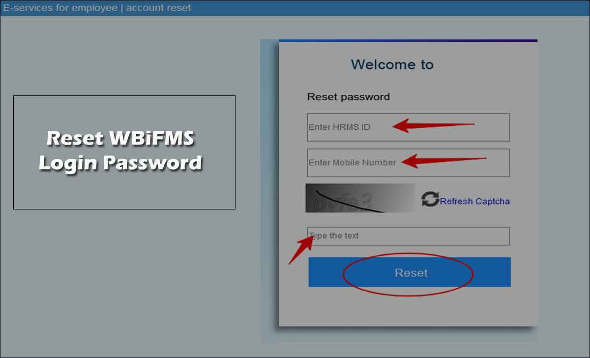 Reset WBiFMS HRMS Login Password using Forgot