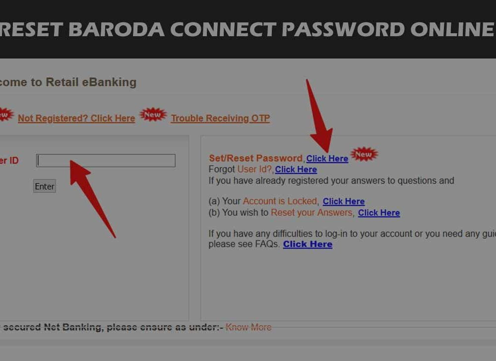 Reset Bank of Baroda Login Password for Online Banking
