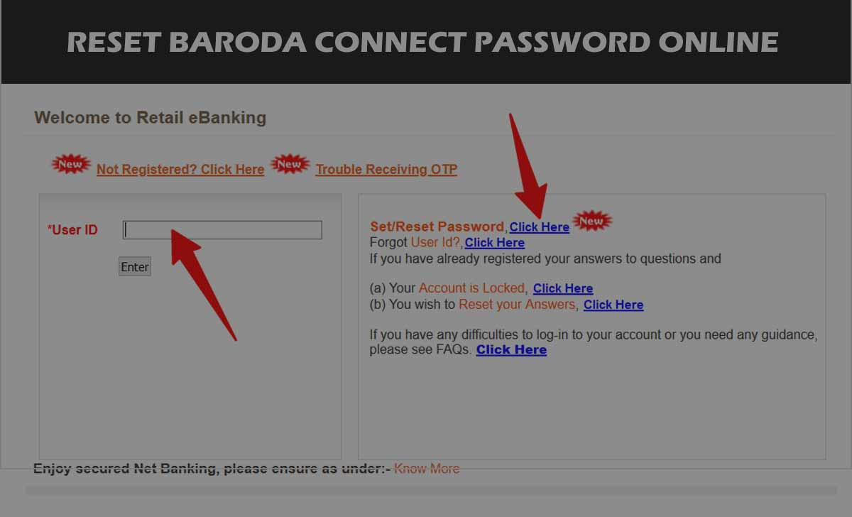 Bank of Baroda Login Password Reset for Net Banking