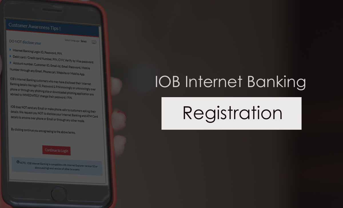 IOB Net Banking Registration