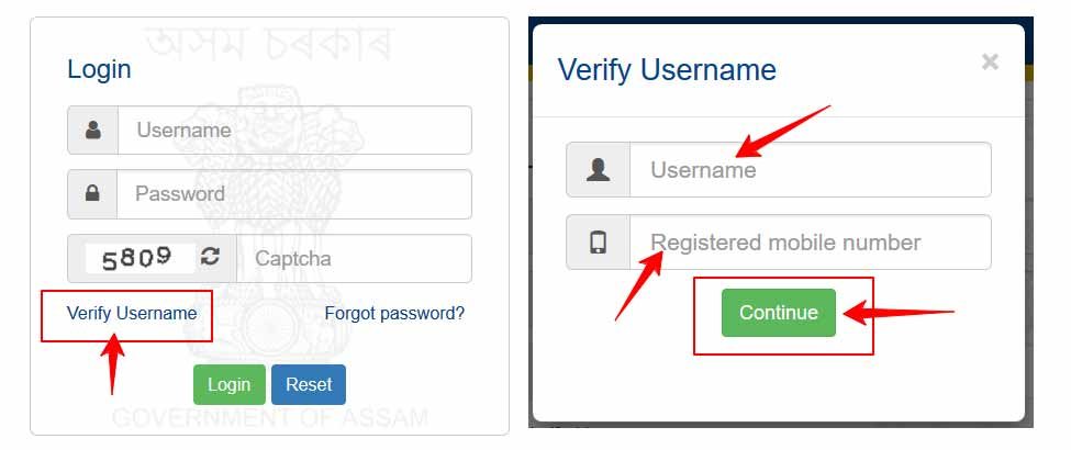 Verify FinAssam Login Username