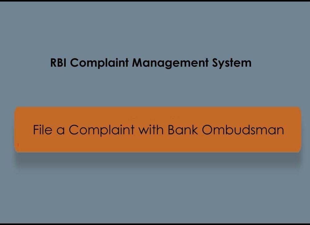 Bank Ombudsman Complaint Online at RBI CMS Portal
