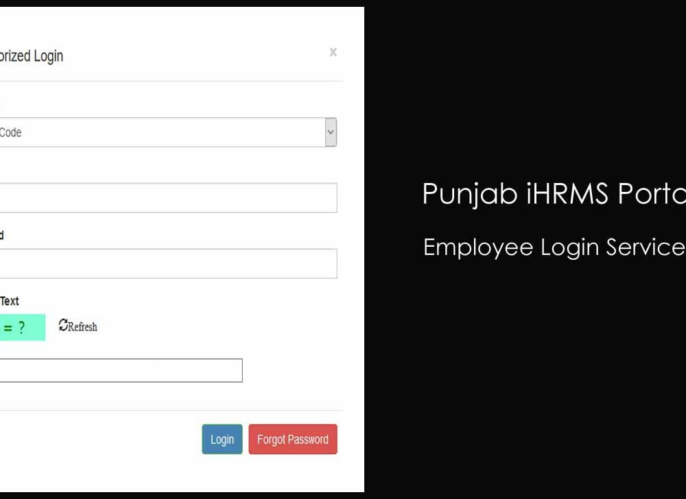 Punjab iHRMS Login for Govt Employee Self Services (ESS)