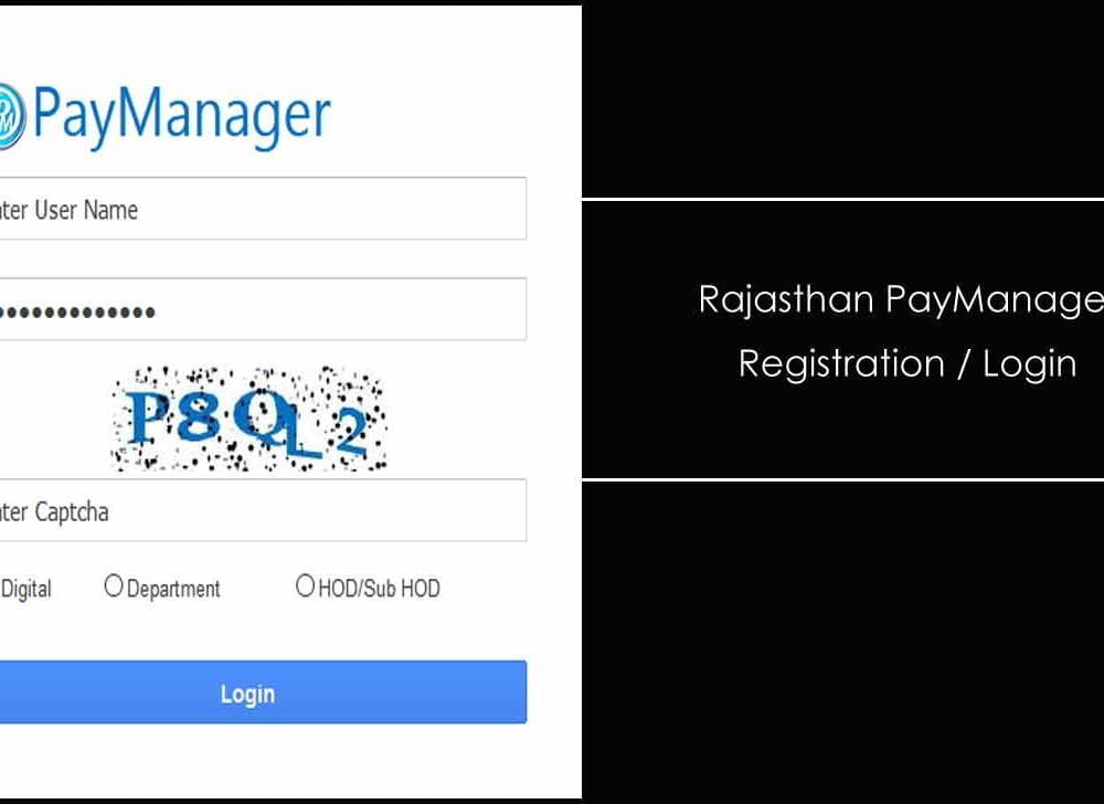 Rajasthan PayManager Login for DDO / Employee Self Services