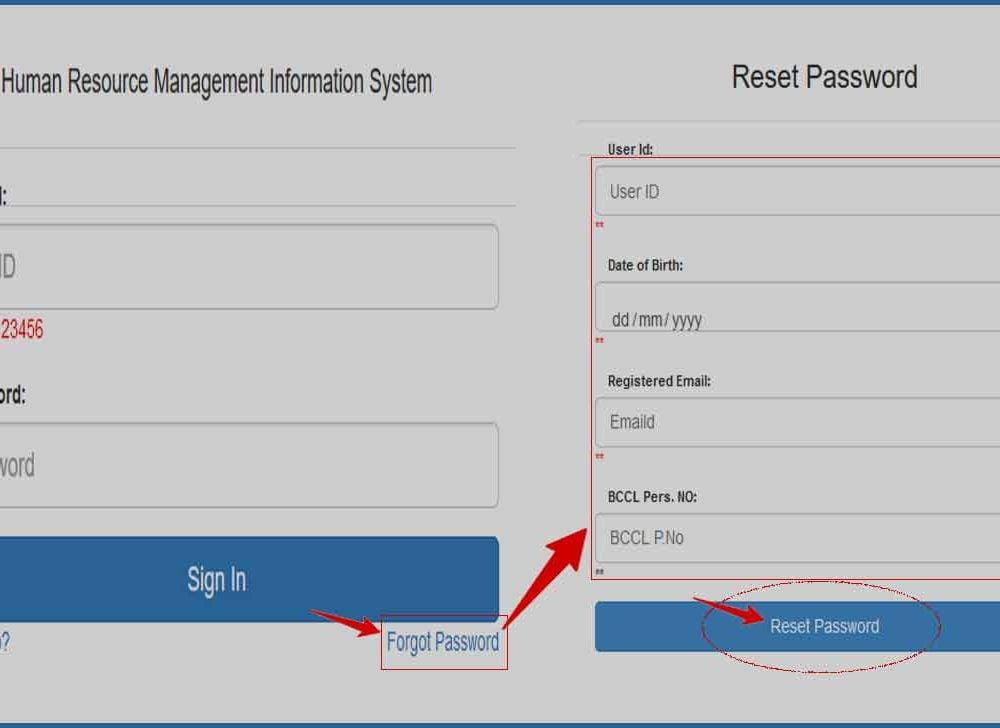 BCCL HRMS Forgot Password Reset for Employee Login