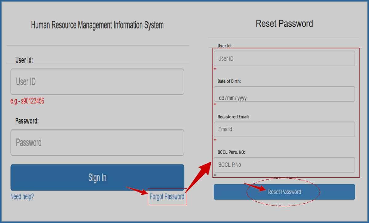 Reset BCCL HRMS Forgot Password