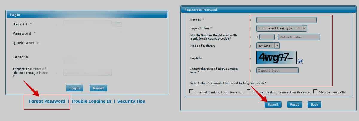 BOM Net Banking Forgot Password Reset Process