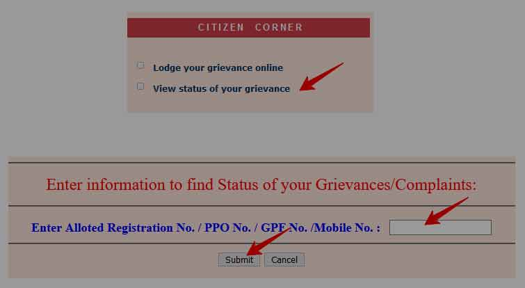 Online Grievance Status for Pension and GPF Account