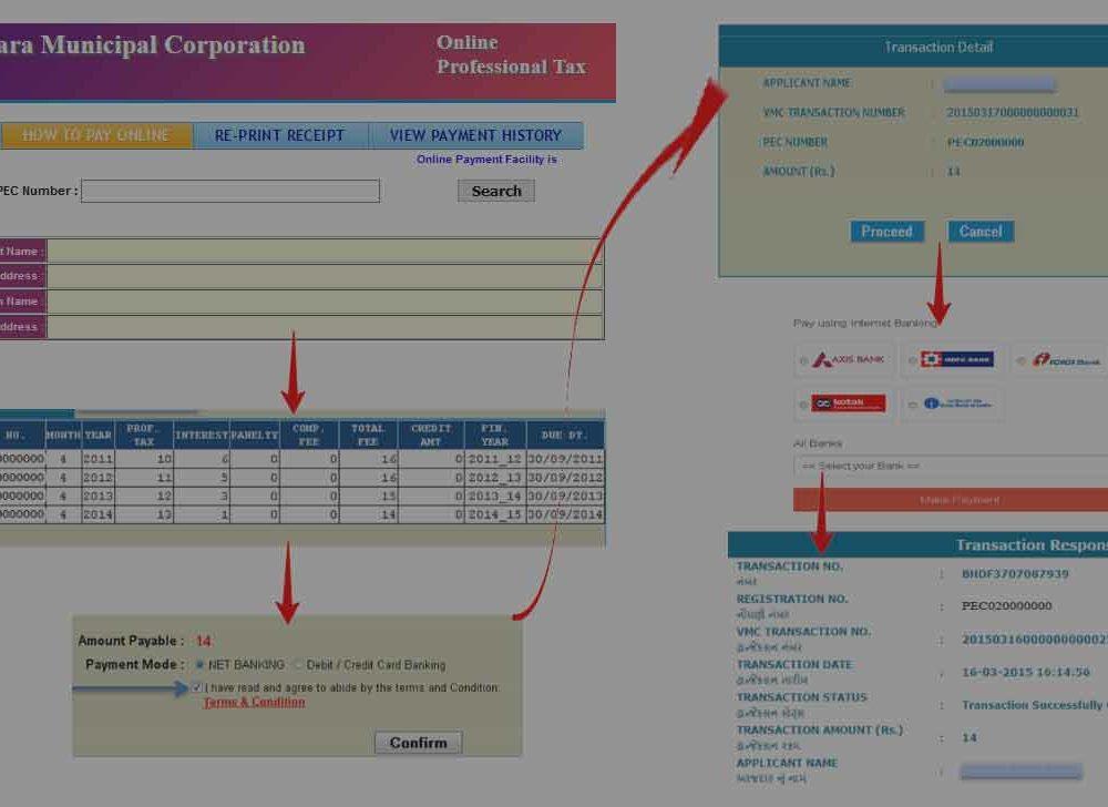 Vadodara Corporation Professional Tax Payment Online