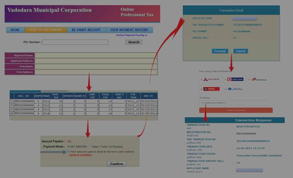 Vadodara Professional Tax Online Payment Process