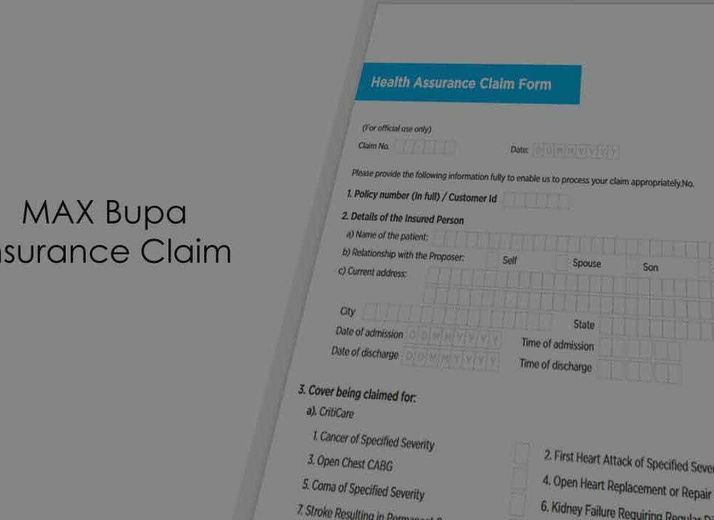 Max Bupa Health Insurance Claim Form (PartA and Part B)