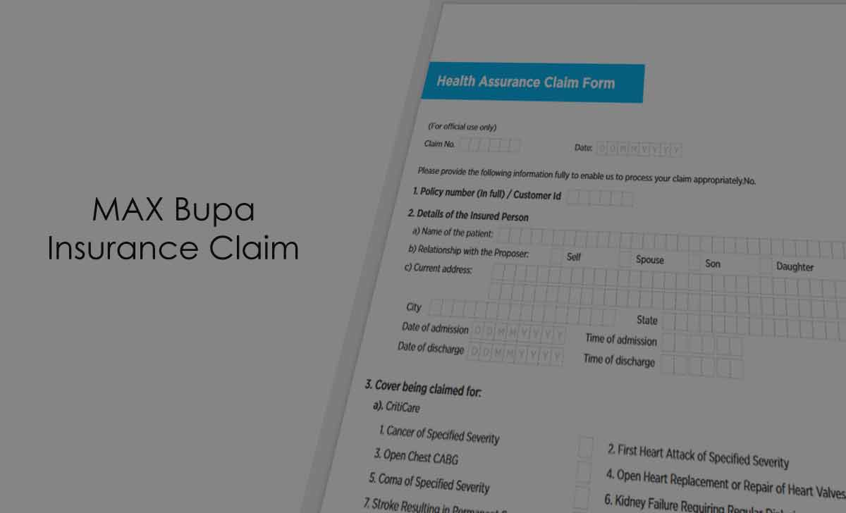 Max Bupa Health Insurance Claim Form