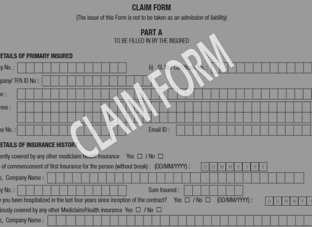 Apollo Munich Health Insurance Claim Form for Treatment Expenses