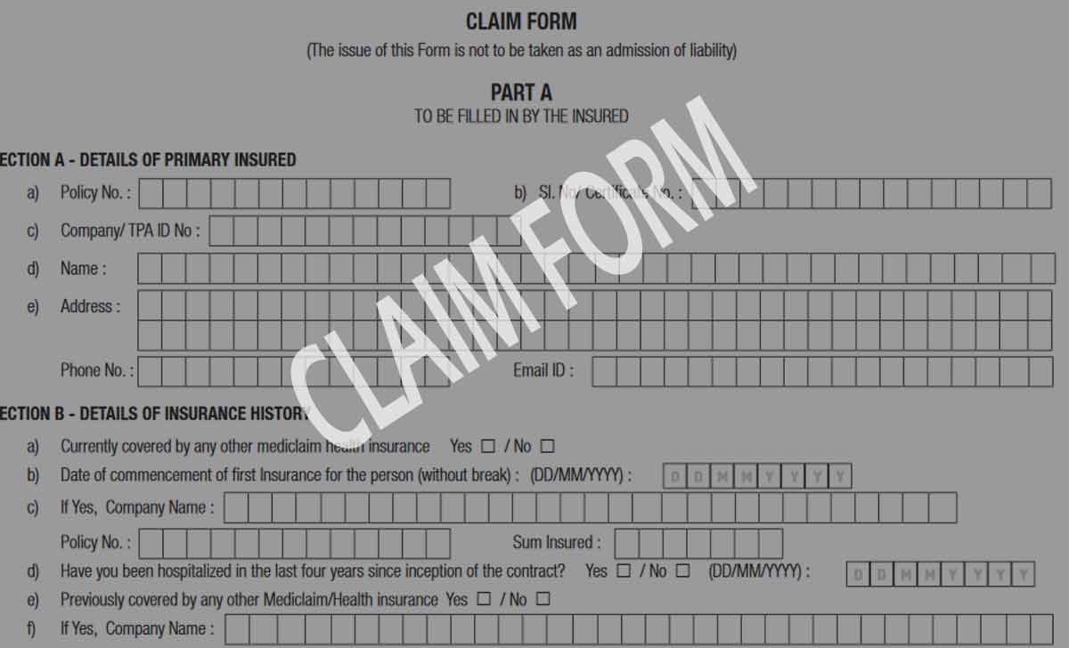 Apollo Munich Health Insurance Claim Form