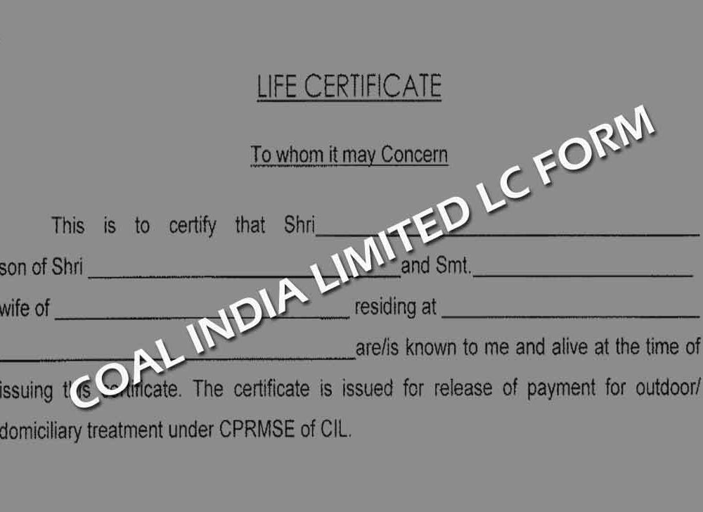 Coal India Pension Life Certificate Information and Form