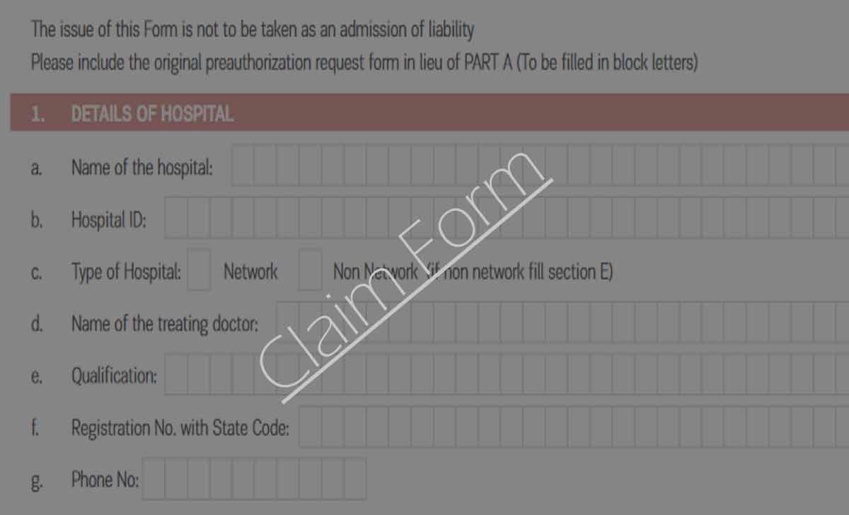 Aditya Birla Health Insurance Claim Form