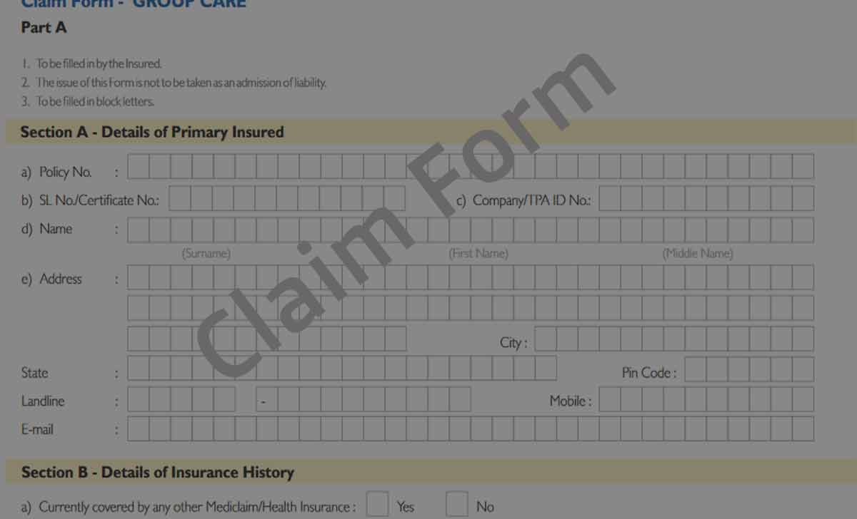 Group Care Health Insurance Claim Form