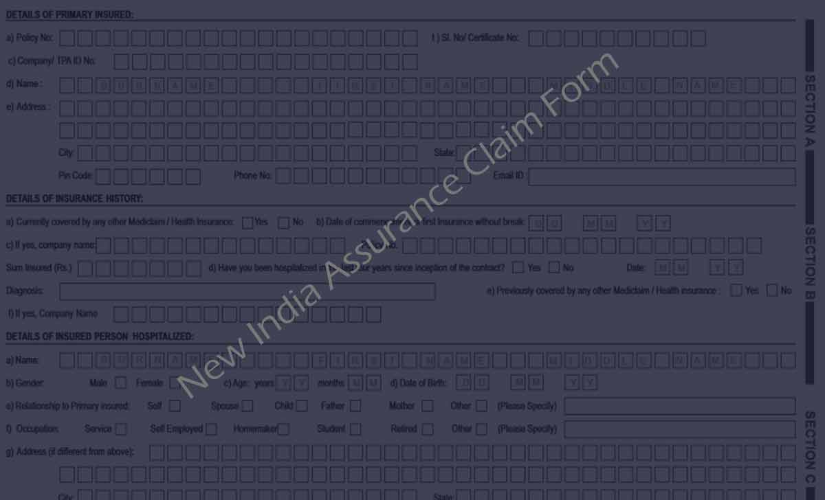 New India Assurance Claim Form