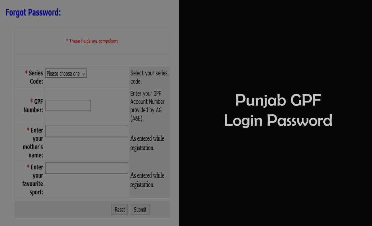 Punjab GPF Login Password Reset