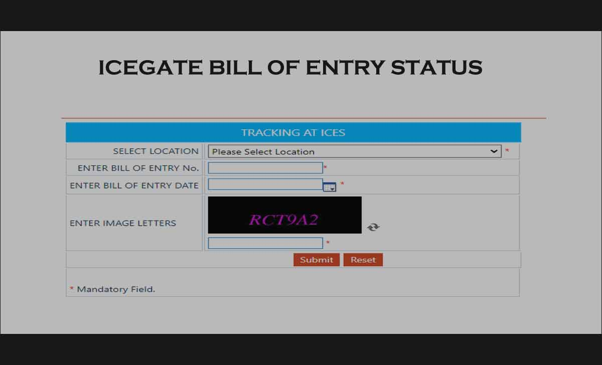 IceGate Bill of Entry